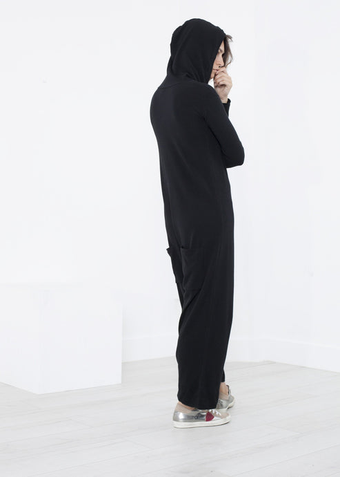 Knit Hooded Jumpsuit in Black