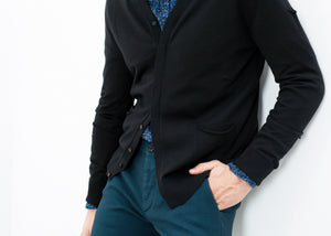 Hidden Placket Cardigan in Black
