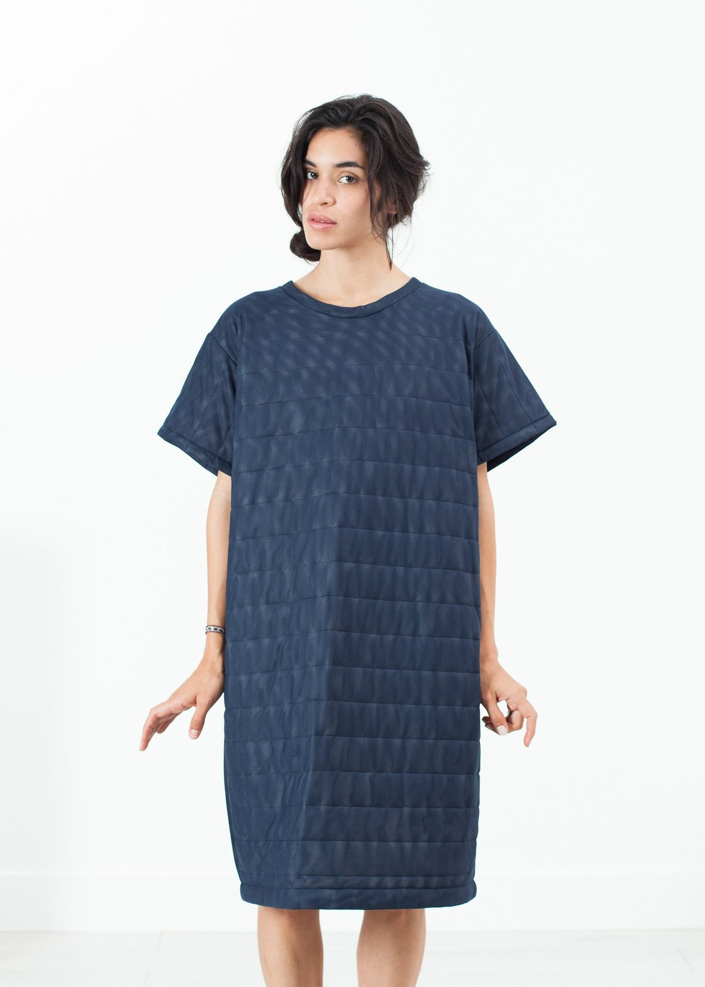 Quilted Mesh T-Shirt Dress in Navy