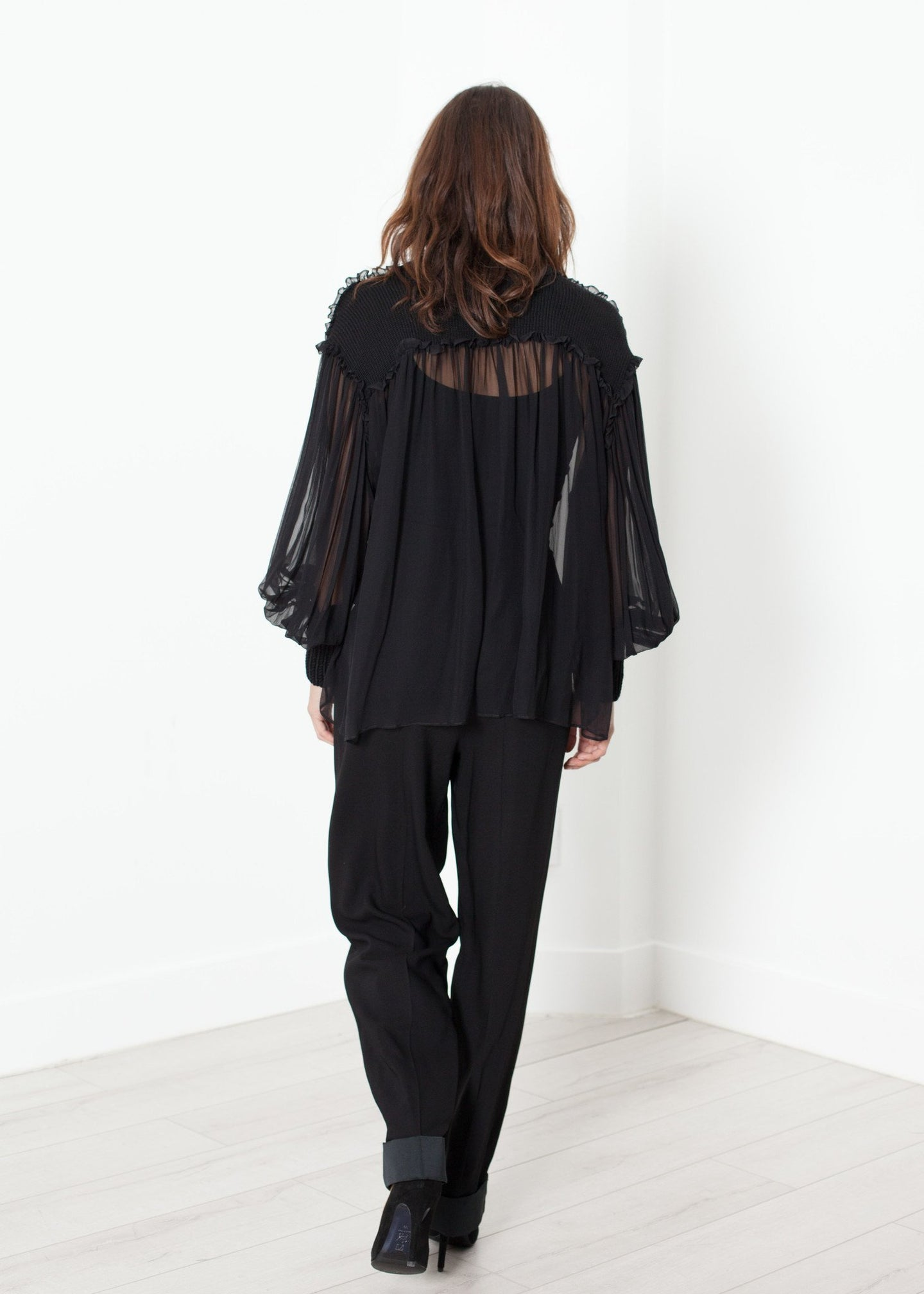 Poet Silk Sweater in Black