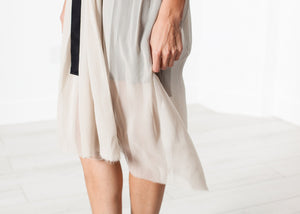Chiffon Cape Back Dress in Sand