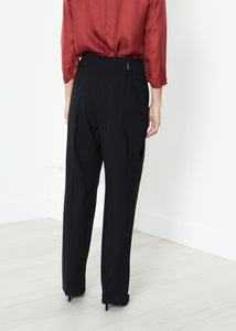 Pleated Waistband Trouser in Black