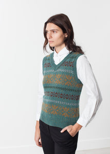 Fair Isle Vest in Army