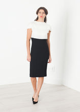 Load image into Gallery viewer, Layered Contrast Dress in Cream/Black