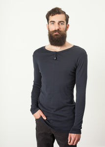 Cotton Henley in Blue Grey
