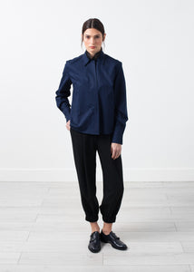 Sheer Silk Collar Button Up