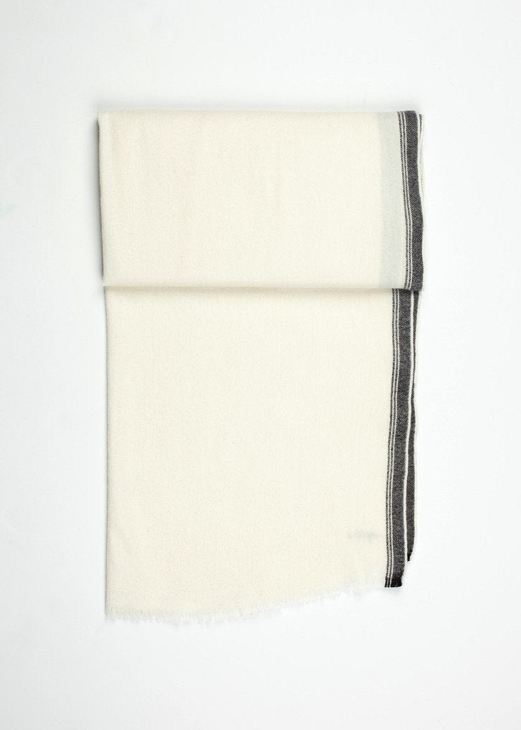 Edged Wool Scarf in Off White
