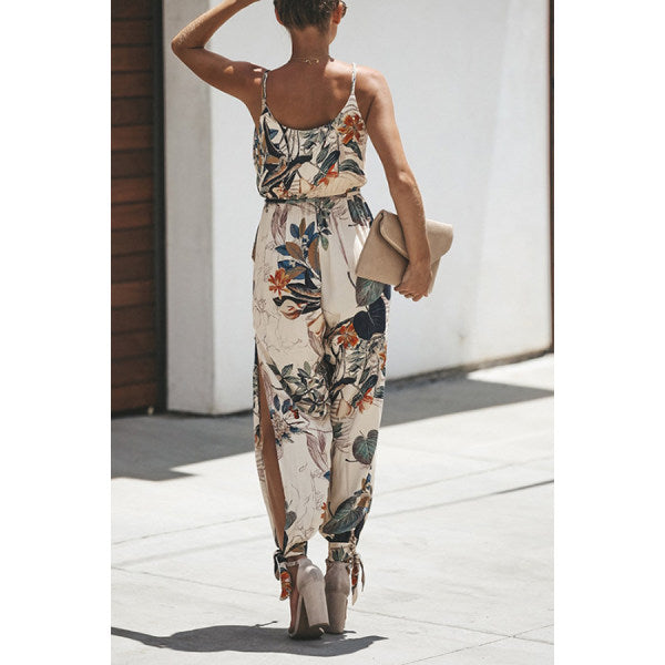 V Neck Elastic Waist Print Playsuits