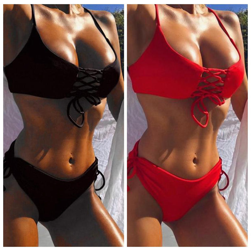 Beautiful Women Bikini Set Swimwear Push-Up Solid