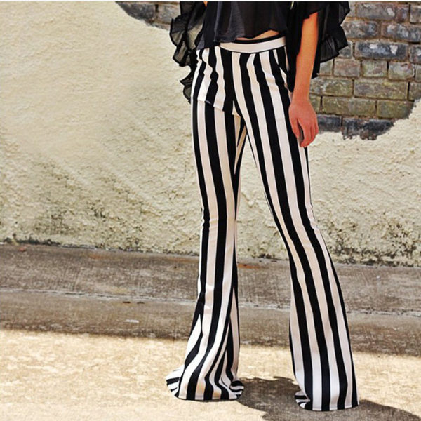Black And White Striped Micro Trousers