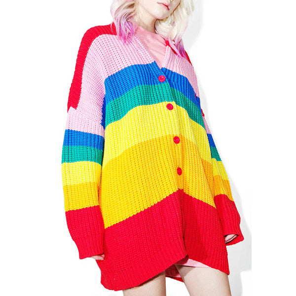 Letter Loose Sweater Rainbow Cardigan