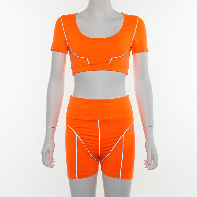 Casual Neon Color Women Two Piece Sets
