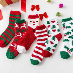 Christmas Socks Cotton Print Coral fleece Furry hairy Warm Fleece Socks Female Ladies Women Socks streetwear New