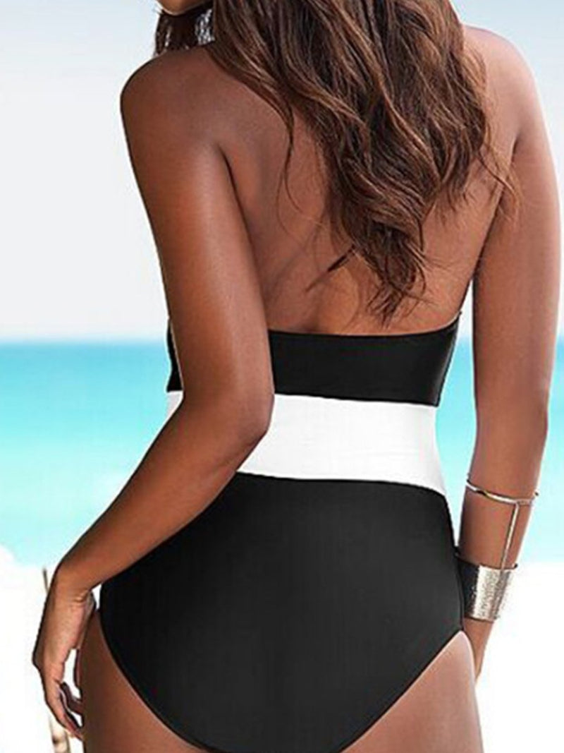 Spaghetti Strap  Color Block One Piece Swimwear