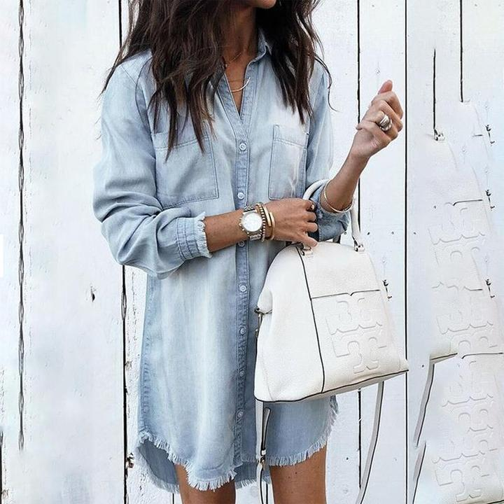 Turn Down Collar Asymmetric Hem Long Sleeve Casual Dresses