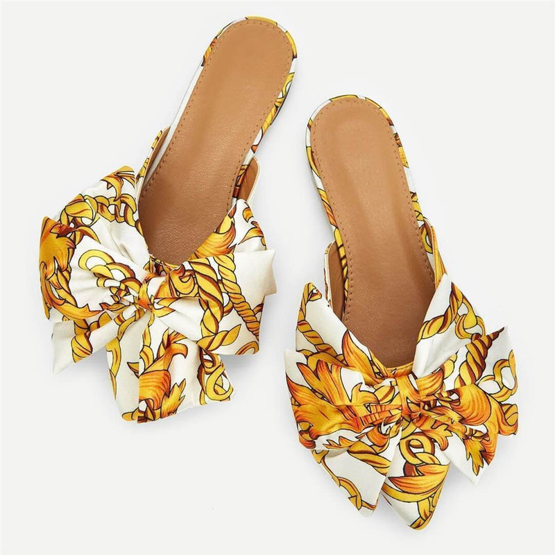 Fashion Wild   Bow Pointed Flat Slippers