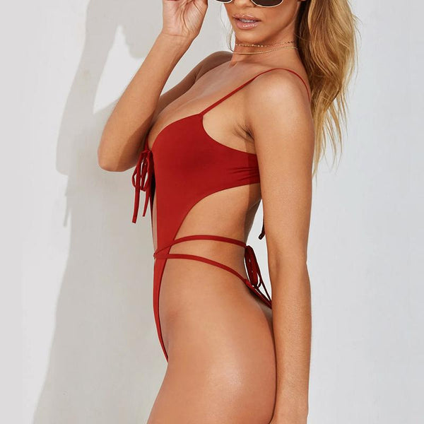 Spaghetti Strap Hollow Out One Pieces