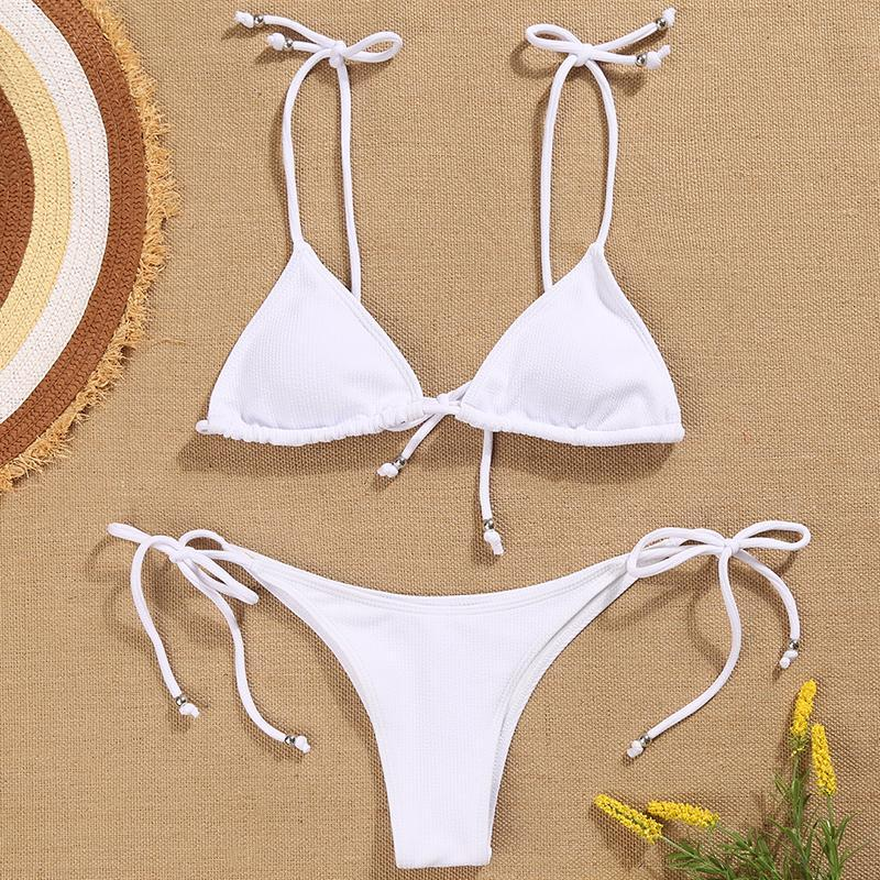 Summer Plain Vacation Bikini Swimwear