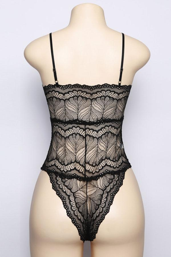 Spaghetti Strap  Lace Up See Through  Hollow Out Plain Teddy