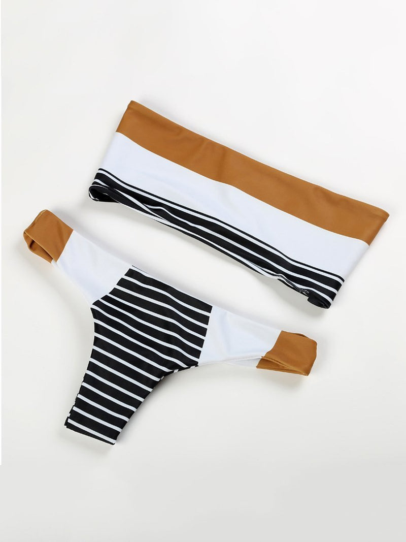 Strapless  Color Block Striped Bikini