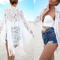 Lace Stitching Tassel Sun Protection Shirt