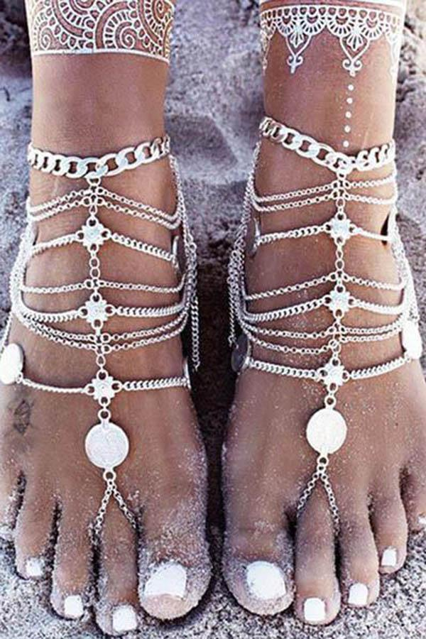 Retro Coin Multi-Layered Tasseled Foot Chain