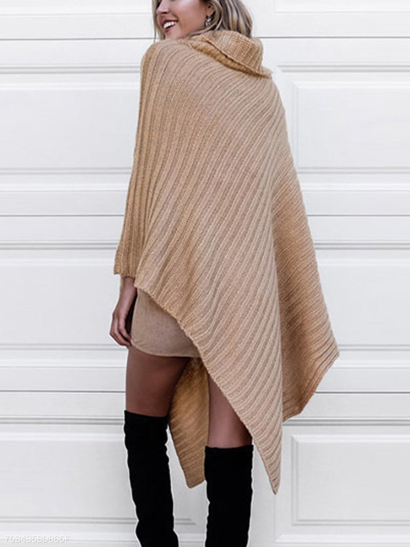 Irregular Turtleneck Batwing Coat Shawl