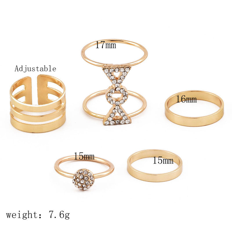 Women's   Personality Full Diamond Joint Ring Ring Set Suit Fashion Personality New   Style