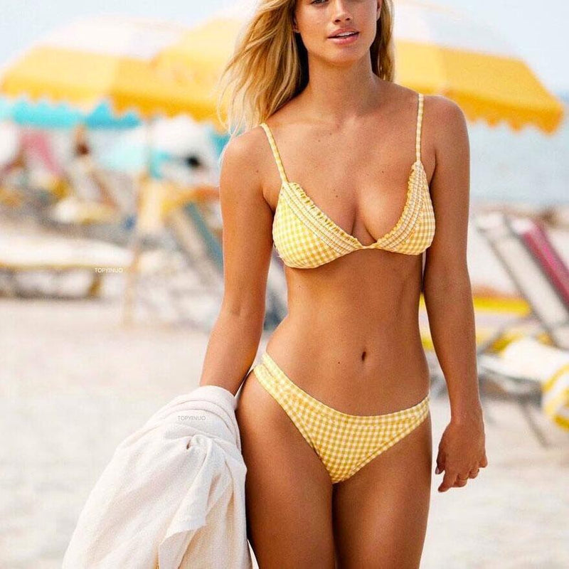 Sweet  Yellow Check Printed Bikini Swimwear