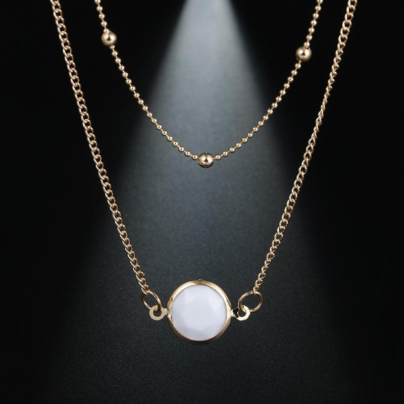 Simple Inlaid Gemstone Pendant Round Bead Chain Double Clavicle
