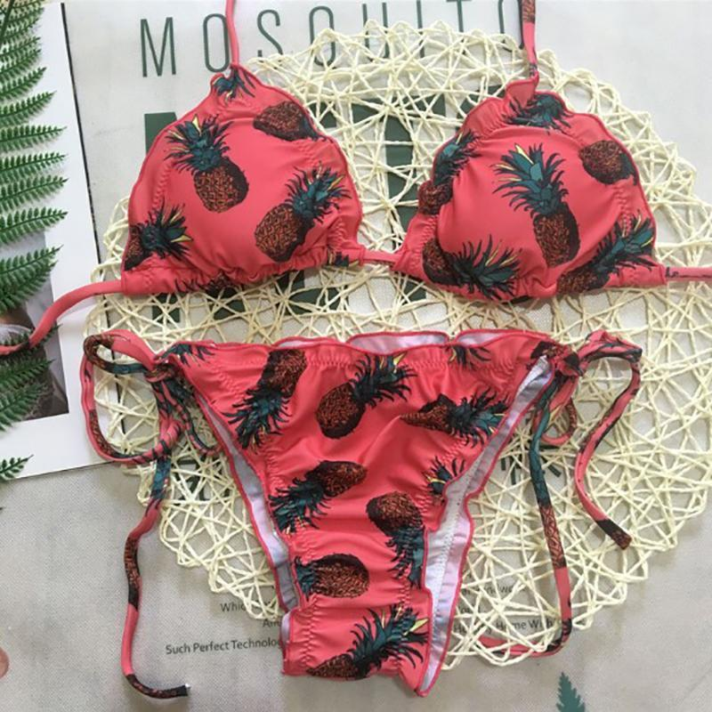 Spaghetti Strap  Lace-Up Ruffle Trim  Printed Bikini