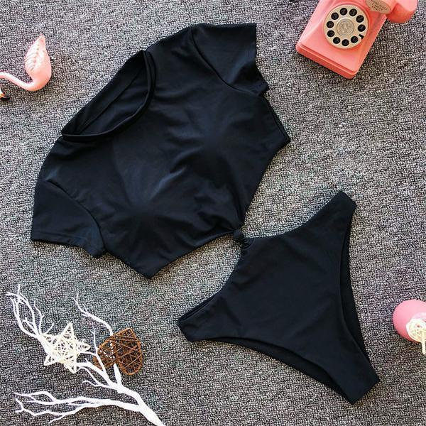 Cutout  Plain One Piece