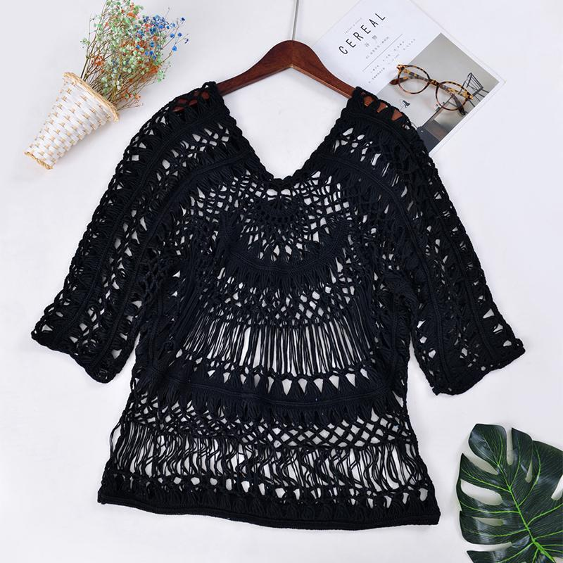 Sexy Crochet Pure Colour Long Sleeve Loose Blouse