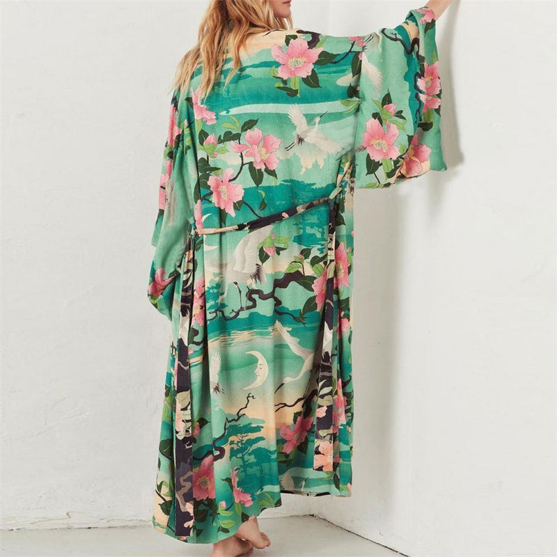 Summer Floral Printed Loose Long Beach Cardigan