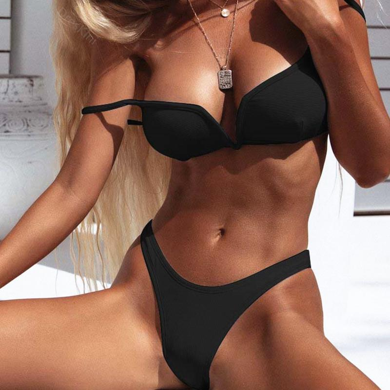 Female Sexy V-Word Steel Support Pure Color Bikini