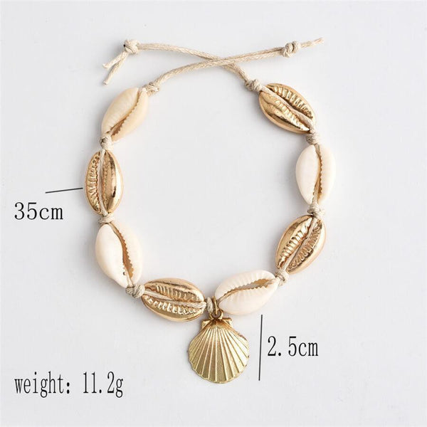 Fashion   Alloy Shell Woven Anklet