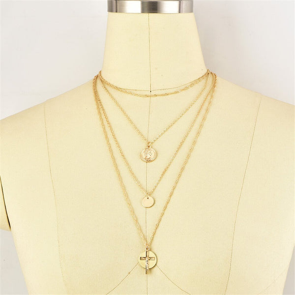 Fashion   Vintage Round Cross Necklace