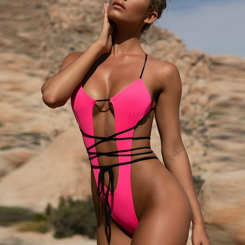 Sexy Fluorescent Color One-Piece Swimsuit