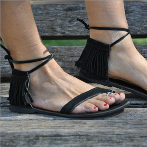 Casual Euramerican Style Tassels Decoration Lace-Up Flat-Heel Frosted Sandals