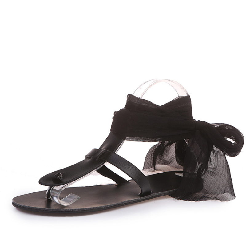 Women's Casual Ribbon Straps Toe   Flat Sandals