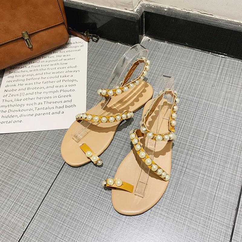 Euramerican Style Pearls Decoration Flat-Heel Gladiator Sandals