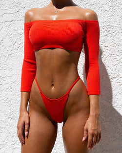 Sexy Off The Shoulder Halflong Sleeve Pure Colour Bikini Swimwear
