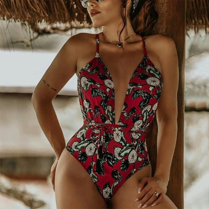 Beach Printed Lace-Up Sleeveless Swimsuit