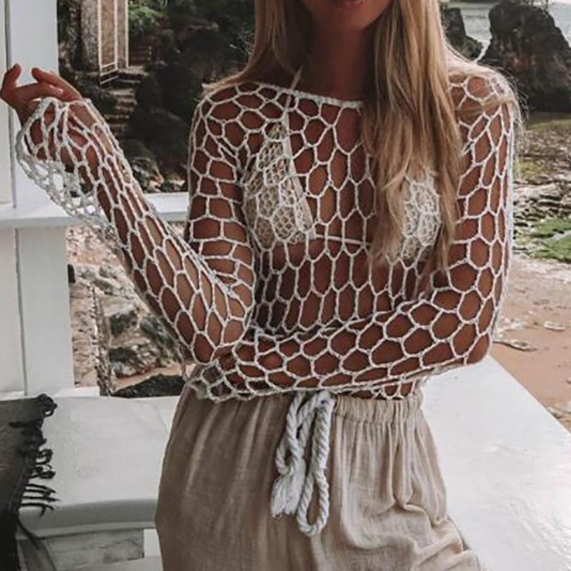 Beach Round Neck Hollow Out Jacquard  Beach Pullover