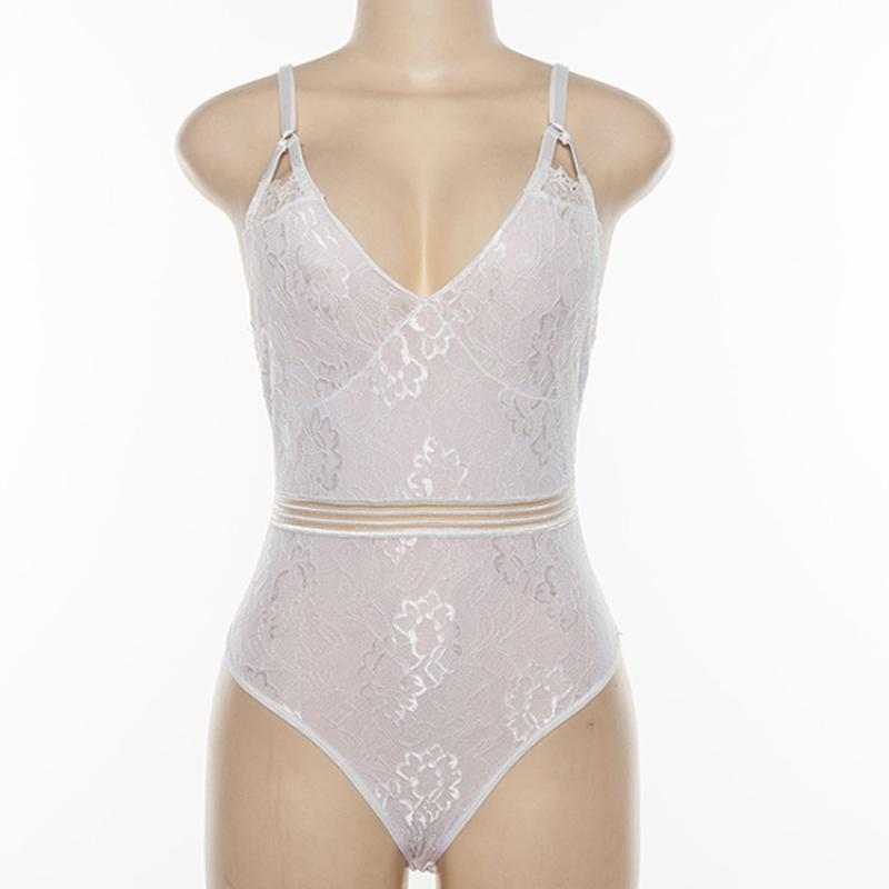 Deep V-Neck  Lace Panel  Sexy Teddy