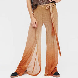 Elastic Color Block Side Slit Beach Pants