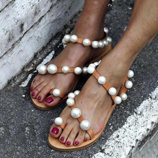 Fashion Vintage Pearl Flat Sandals