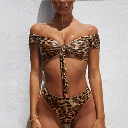 Sexy High Waist Leopard Strap Two Piece Bikini