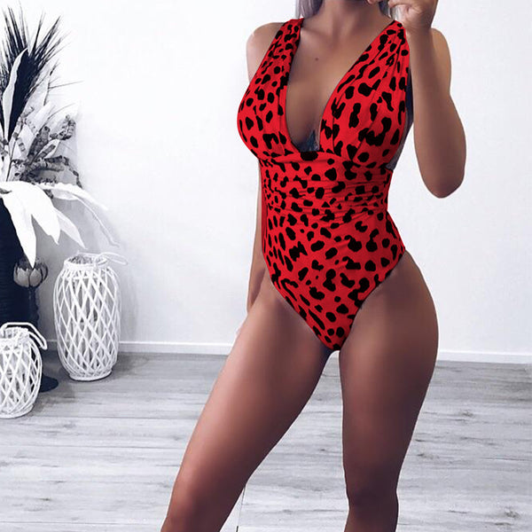 Beach Halter Animal Printed Backless One Piece Swimsuit