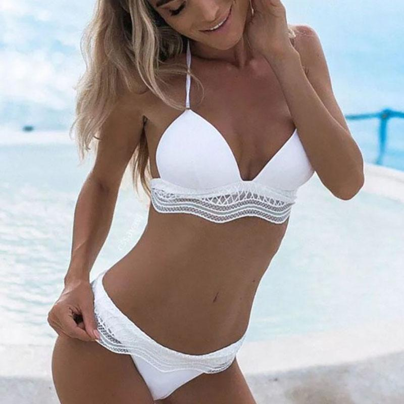 Spaghetti Strap  Ruffle Trim See-Through  Plain Bikini